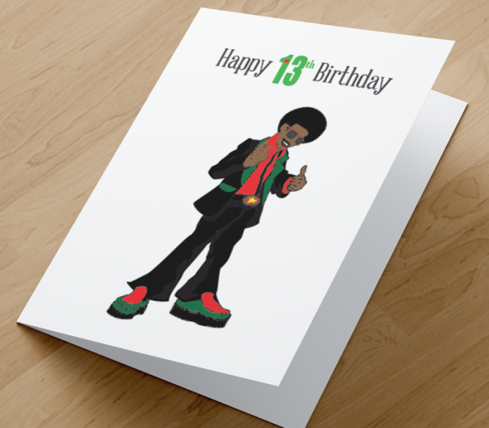 African American Boy D - Age 13 Birthday Card