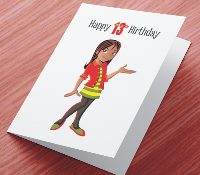 African American Girl K - Age 13 Birthday Card