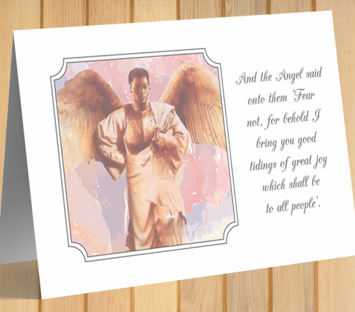 African American Angel Christmas Card C