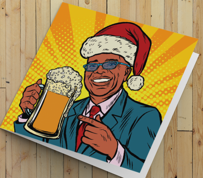 African American Man Christmas Card A