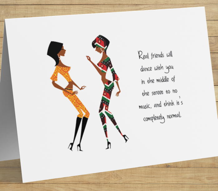 African American Card - Dancing Friends A