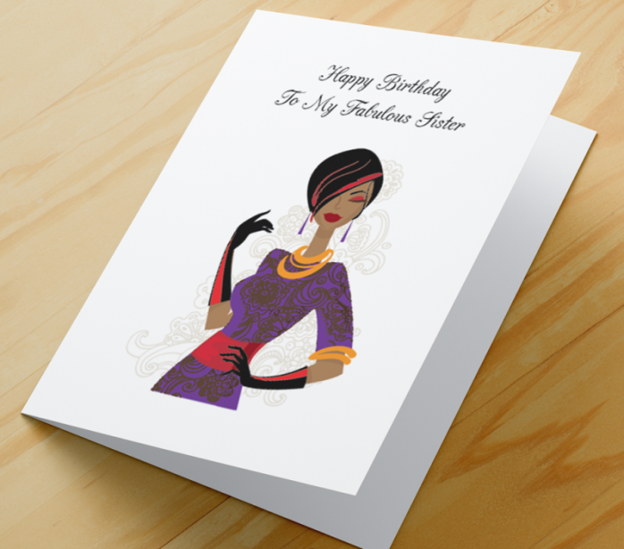 African American Woman Birthday Card L - Sister