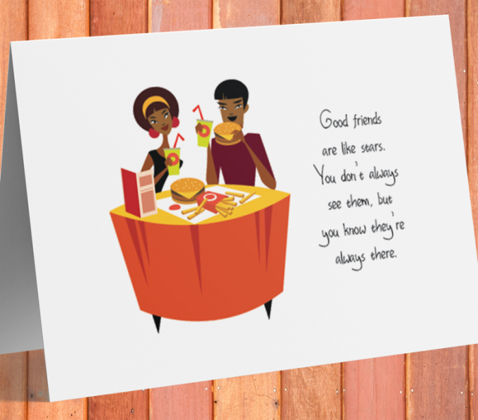 African American Card - Friends Are Like Stars B