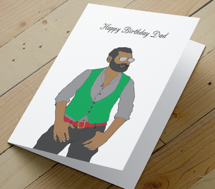 African American Man Birthday Card W - Dad