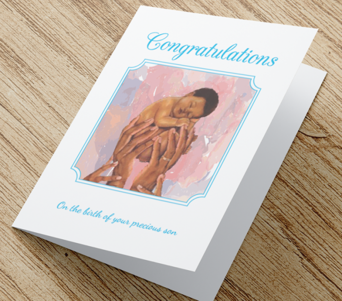 African American New Baby Card D - Son