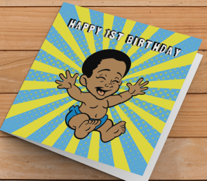 African American Boy J - Age 1 Birthday Card