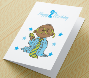African American Boy A - Age 2 Birthday Card