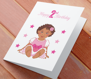 African American Girl Z - Age 2 Birthday Card