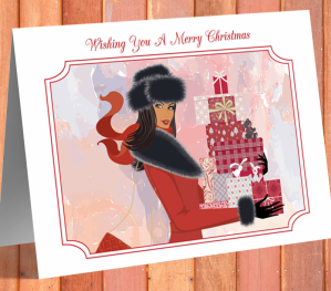 African American Woman Christmas Card B