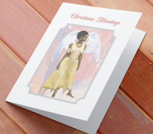 African American Angel Christmas Card A