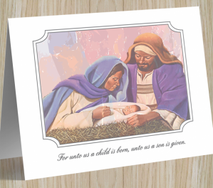 'A Child Is Born' African American  Christmas Card
