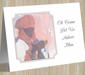 'Let Us Adore Him' African American Christmas Card