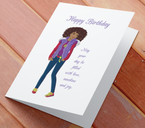 African American Girl Birthday Card F