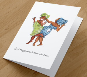 African American Card - Dancing Friends D