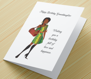 Birthday Card  - African American Girl I - Granddaughter