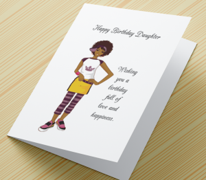 Birthday Card  - African American Girl J - Daughter