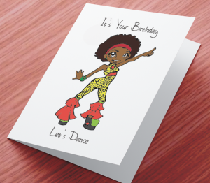 African American Girl V Birthday Card