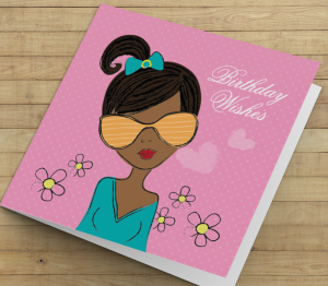African American Girl Y Birthday Card