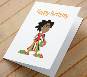 African American Girl Birthday Card O