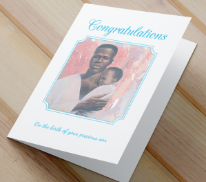 African American New Baby Card C - Son