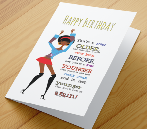 African American Girl Birthday Card D