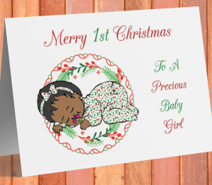African American Baby Girl 1st Christmas Card