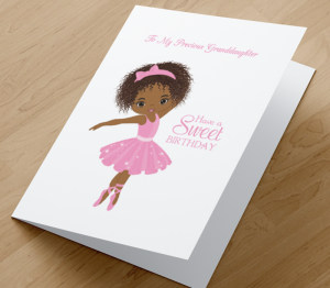 Birthday Card  - African American Girl U - Granddaughter