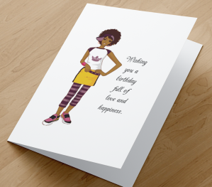 African American Girl Birthday Card J