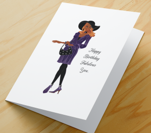 African American Girl Birthday Card P