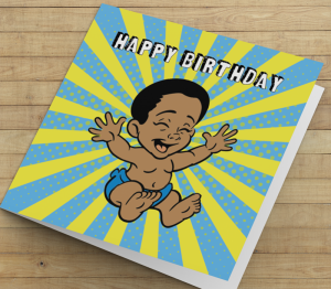 African American Boy J Birthday Card