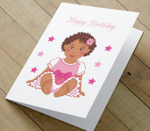 African American Girl Z Birthday Card