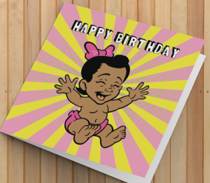 African American Girl A1 Birthday Card