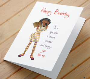 African American Girl Birthday Card Q