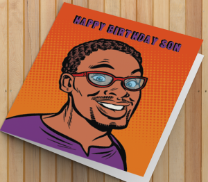 African American Man Birthday Card T - Son