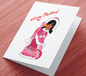 African American Girl Xmas Card D